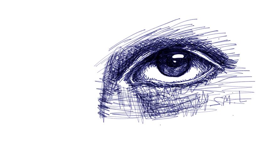 Scribble Pen Drawing : Eye sketch pen blue scribbles doodle ly