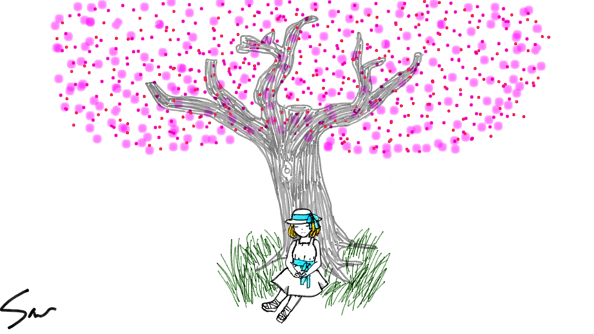 cherry blossom tree the girl at the base is from my drawing