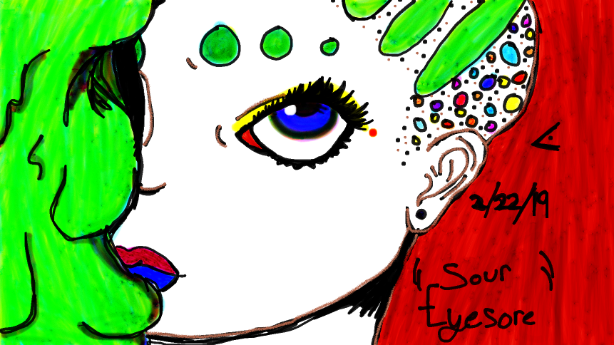 """Sour Eyesore"" (inspired by Lisa Frank style)"