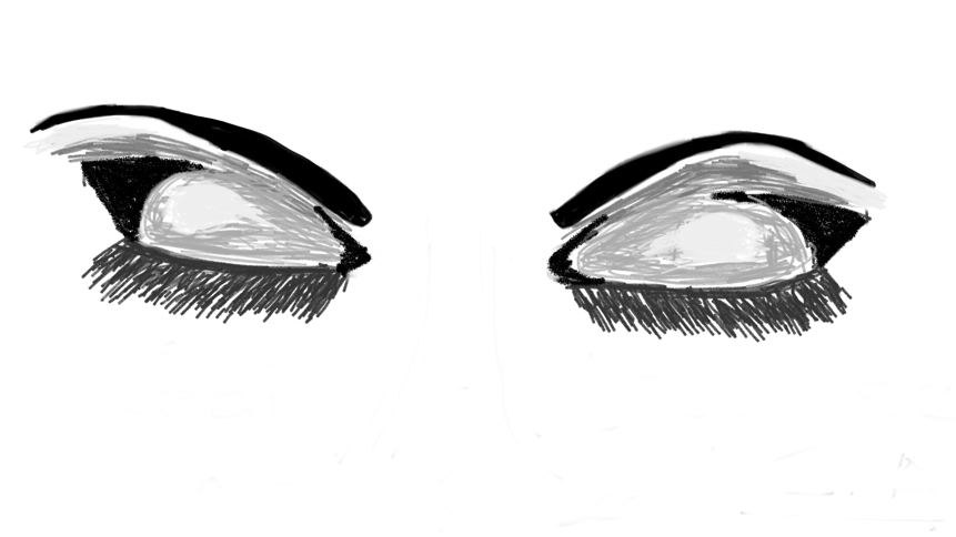 Attempted drawing of closed eyes