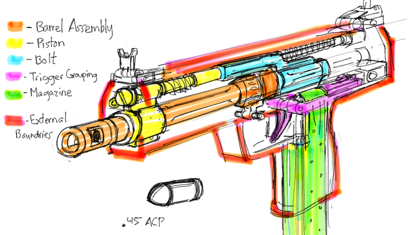 Draw a machine pistols internal made up the parts and gun on the fly